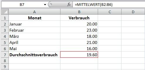Durchschnitt mit Excel berechnen