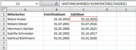 Jubiläum mit Excel berechnen