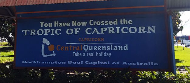 Passer le Tropique du Capricorne à Rockampton