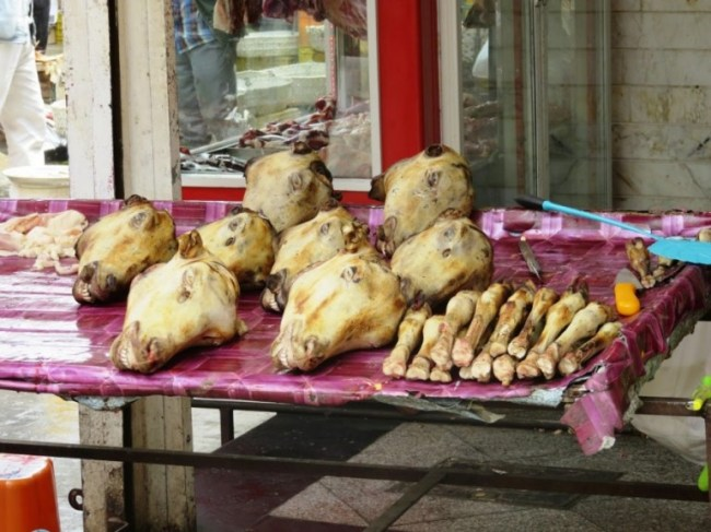 Sheep heads for sale to make kaleh pacheh. A classic Persian food for breakfast