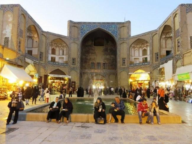 The entrance of the bazaar bozorg in Isfahan Iran