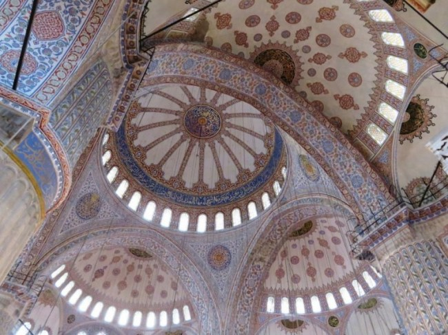 Inside the blue mosque in Istanbul. A must visit if you are in Istanbul in one day