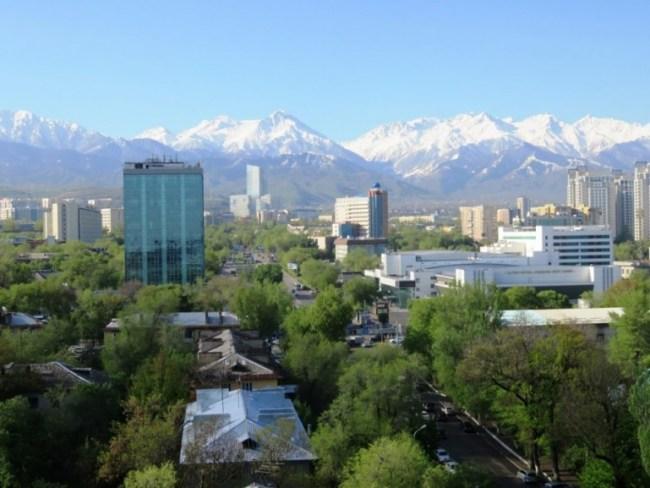 Hostel Almaty view on Tien Shan mountains in Kazakhstan
