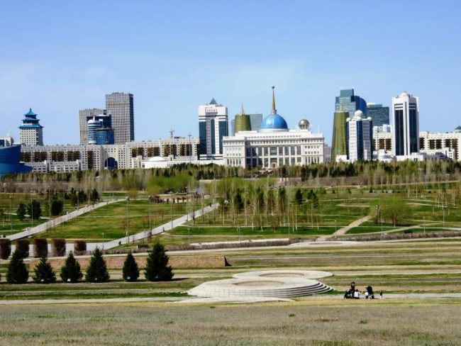 View on the Presidential palace from the central park in Nursultan Astana