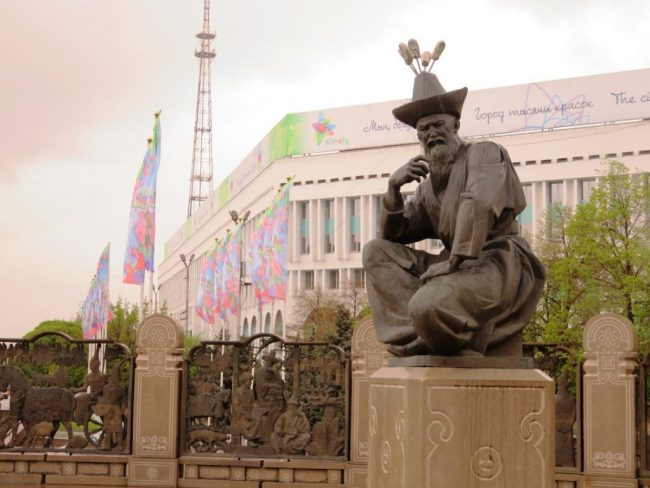 statue in Republic square in Almaty