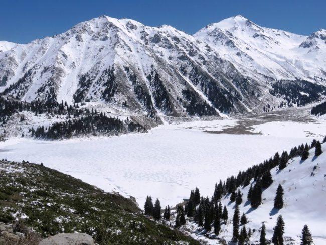 Almaty Lake covered in snow in Almaty Kazakhstan