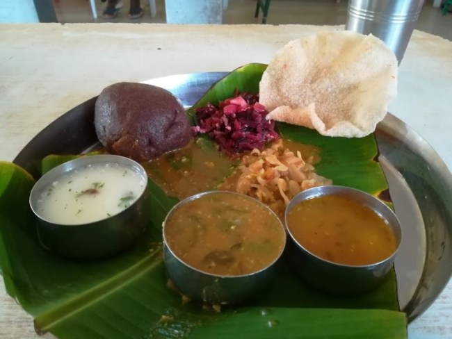 best food in Mysore: South Indian thali with ragi ball