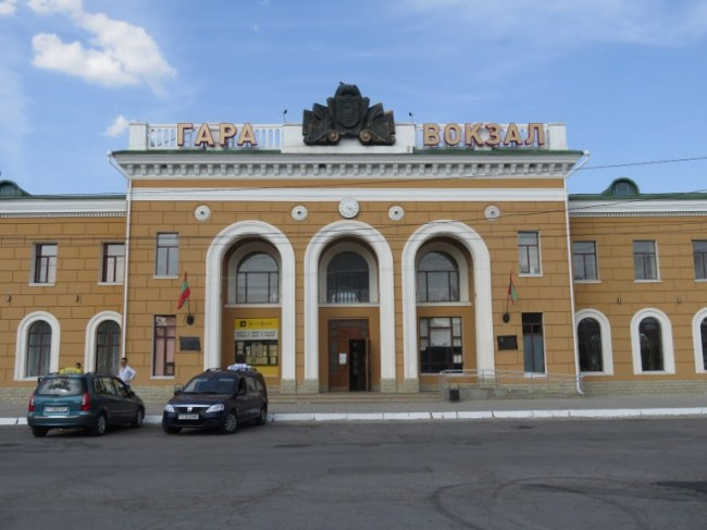 train station of Tiraspol in Transnistria. It is easy to travel to Transnistria by train