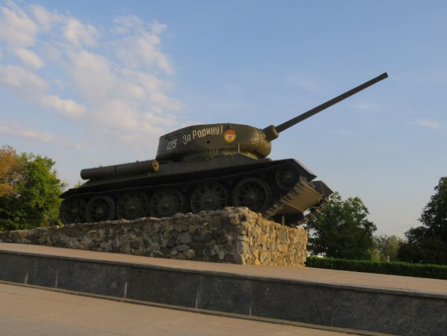 An old Soviet tank at the memorial of glory in Tiraspol