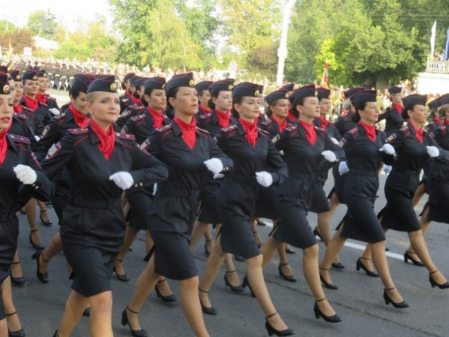 Military parade during Transnistria's independence day in Tiraspol