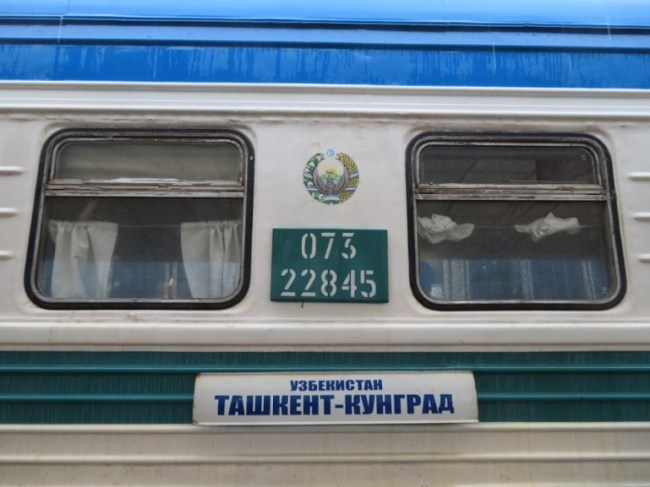 The Soviet sleeper train in Uzbekistan from Tashkent to Nukus