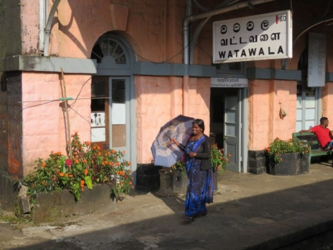 Lady in Watawale station taken from the Kandy to Ella train
