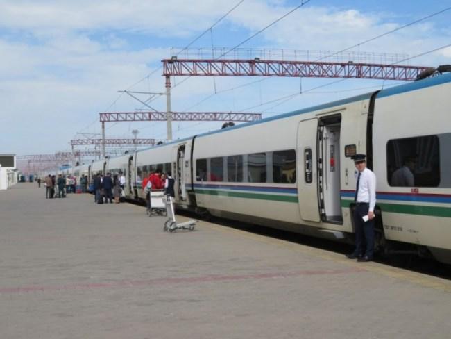 Train on the station in Bukhara Uzbekistan