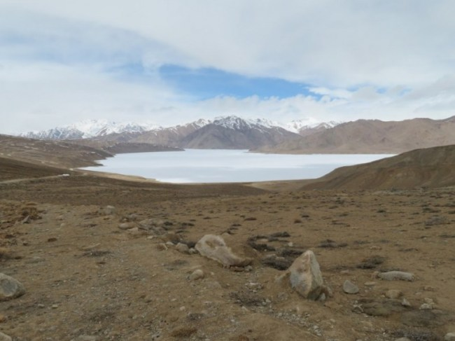 Yashilkul lake on the Pamir highway Tajikistan