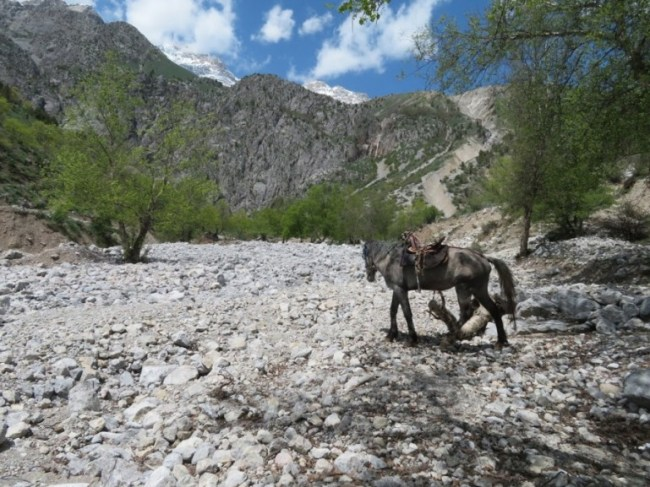 On the way to the large waterfall in the Baba Atash mountains Kyrgyzstan