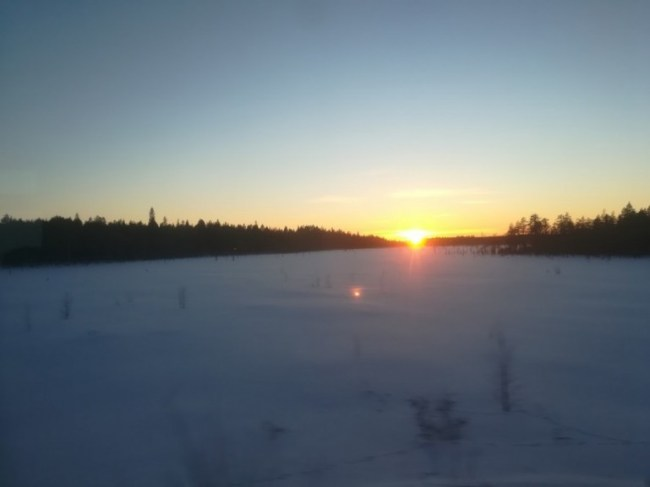 Sunset on the St Petersburg to Murmansk train