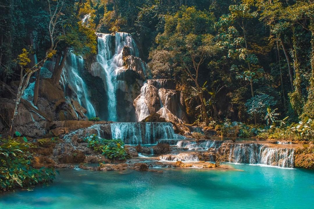 Visit Kuang Si Falls in Luang Prabang, Laos | Beautiful Waterfalls | Luang Prabang | Laos | Backpack South East Asia | Travel | Backpacking | Must Visit | Do Not Miss | Amazing landscapes | Photography | Backpackers Wanderlust |