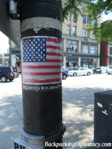 An American flag on a post.