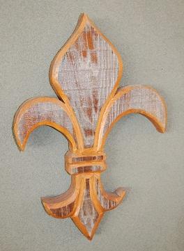 Hand carved wooden fleur de lis