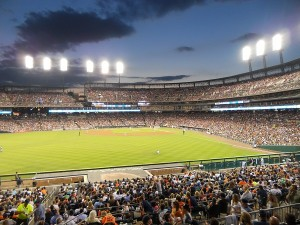 A baseball game in Detroit.