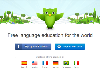 The homepage of Duolingo. Notice the signature owl, and the languages offered for the site.