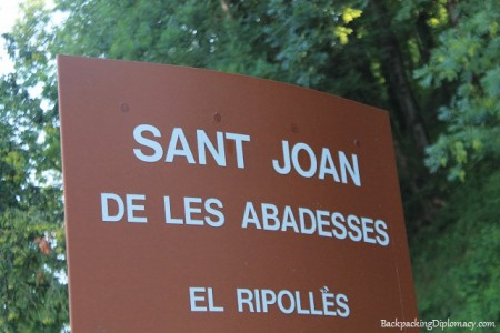 Sign for Sant Joan de les Abadesses
