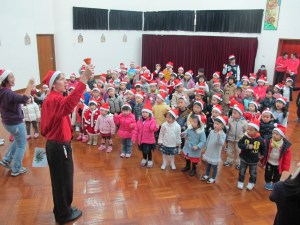 School assembly at Christmas time in Hong Kong