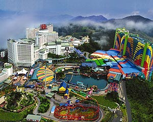 Genting Highlands, -Las Vegas- on a hill top (2000 above sea level), about 50km south-east of Kuala Lumpur, Malaysias only Casino is there plus theme parks, restaurants, resort, etc