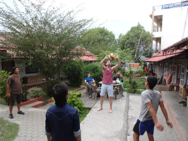 Hitting the volleyball around in the afternoon at the Hotel (Nepal, 2016).