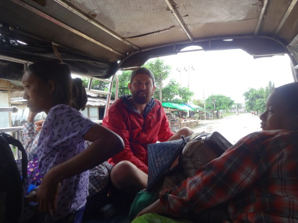 Packed up in the back of the truck taxi ready to head out (Myanmar, 2016).