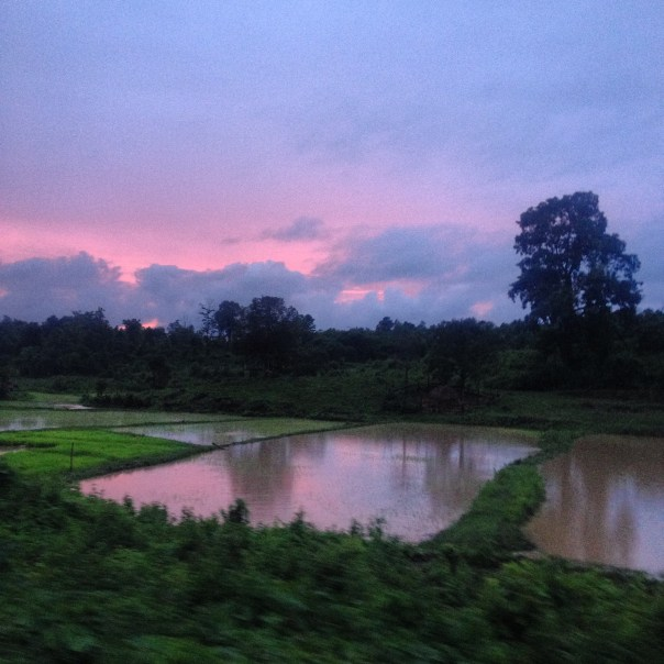 Sun setting view from the train (Myanmar, 2016).