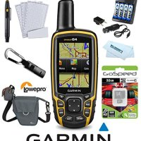 Garmin GPSMAP 64 Worldwide (Yellow) Hiking and Backcountry Bundle w/ 32GB MicroSD,4 AA Rechargable Batteries + Charger, Lowepro Case, Cleaning System, Microfiber Cloth, Screen Protection, Handheld with High-Sensitivity GPS and GLONASS Receiver 010-01199-00