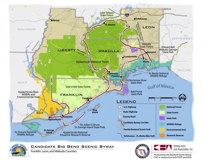 Big Bend Scenic Byway map - Florida Travel: The Sopchoppy Worm Gruntin' Festival