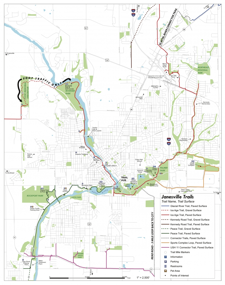 Janesville Trail System Map - Tour Scenic & Historic Sites in the City of Janesville, Wisconsin