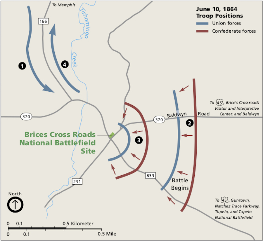 Battle Map for Brices Cross Roads - Brices Crossroads & Tupelo National Battlefield: Mississippi's Final Stands