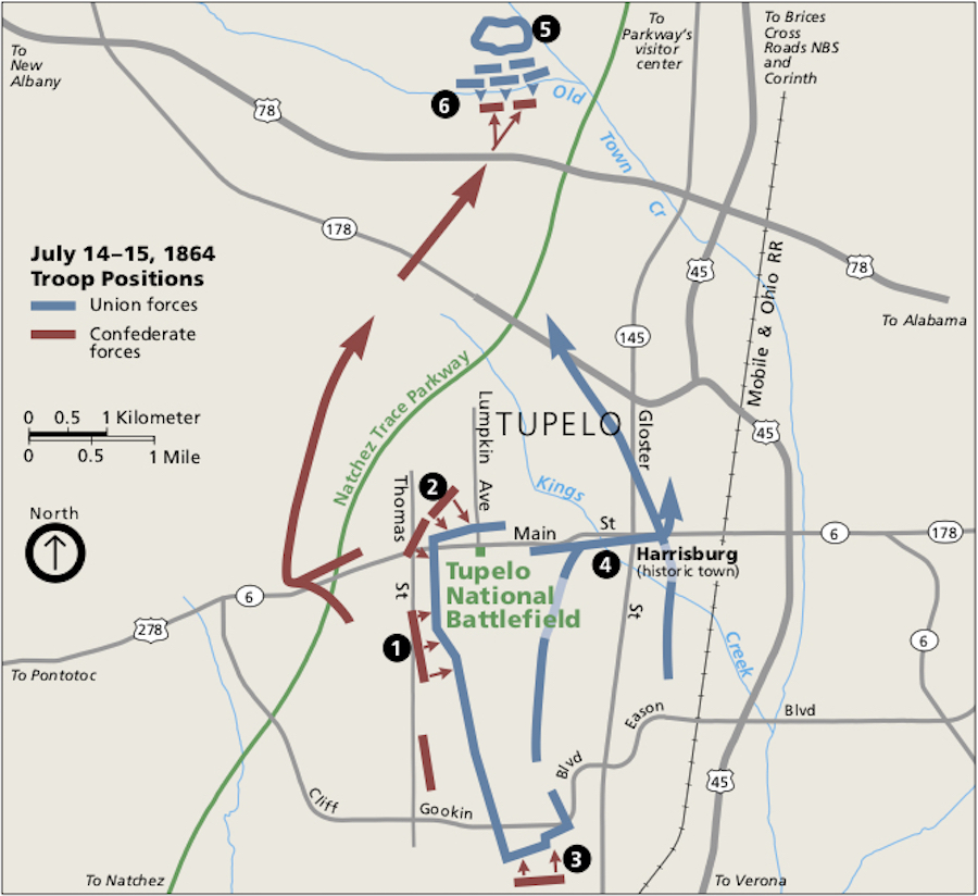Battle of Tupelo Map - Brices Crossroads & Tupelo National Battlefield: Mississippi's Final Stands