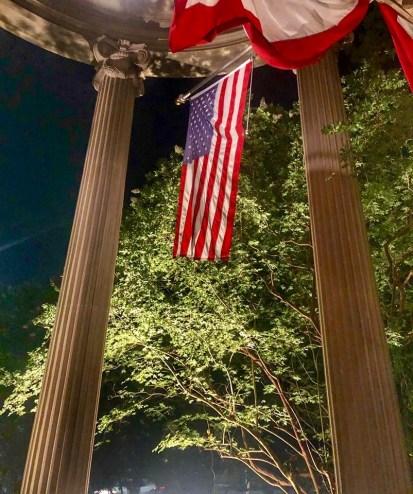 Graystone Inn Pillars and Flag at Night