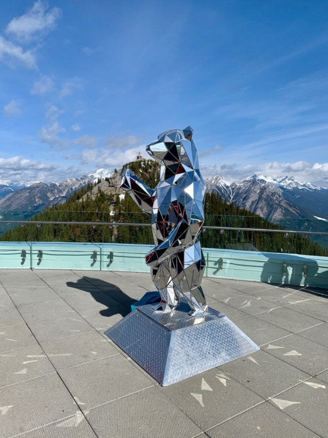 Banff Gondola Observation Deck Mirror Bear Sculpture