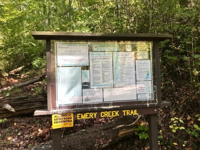 Emery Creek Trailhead Sign