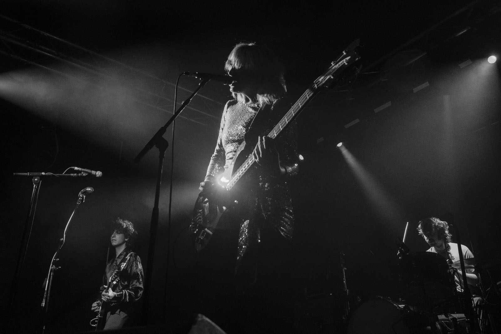 Photo of Sunflower Bean on stage at Glasgow Art School on 26 November 2018