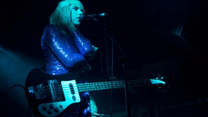 Photo of Julia Cumming of Sunflower Bean on stage at Glasgow Art School on 26 November 2018