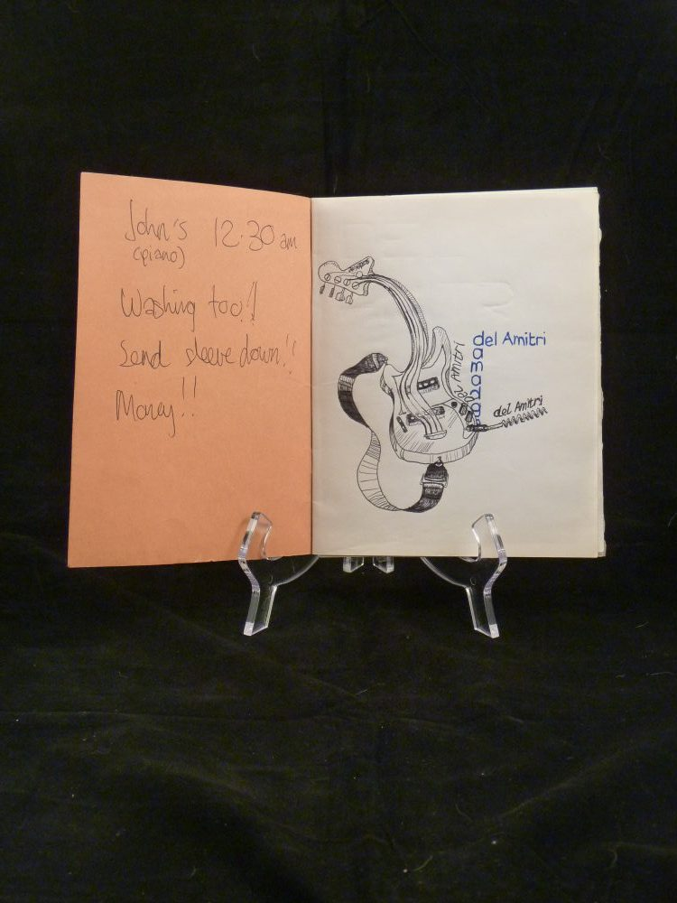 Photo of Justin Currie's notebook for Del Amitri auction