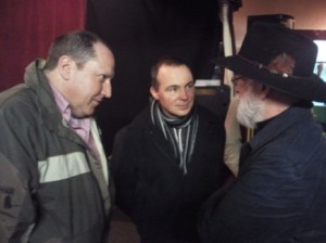 Sir Terry Pratchett chats with Backspindle Boys, Leonard Boyd and David Brashaw