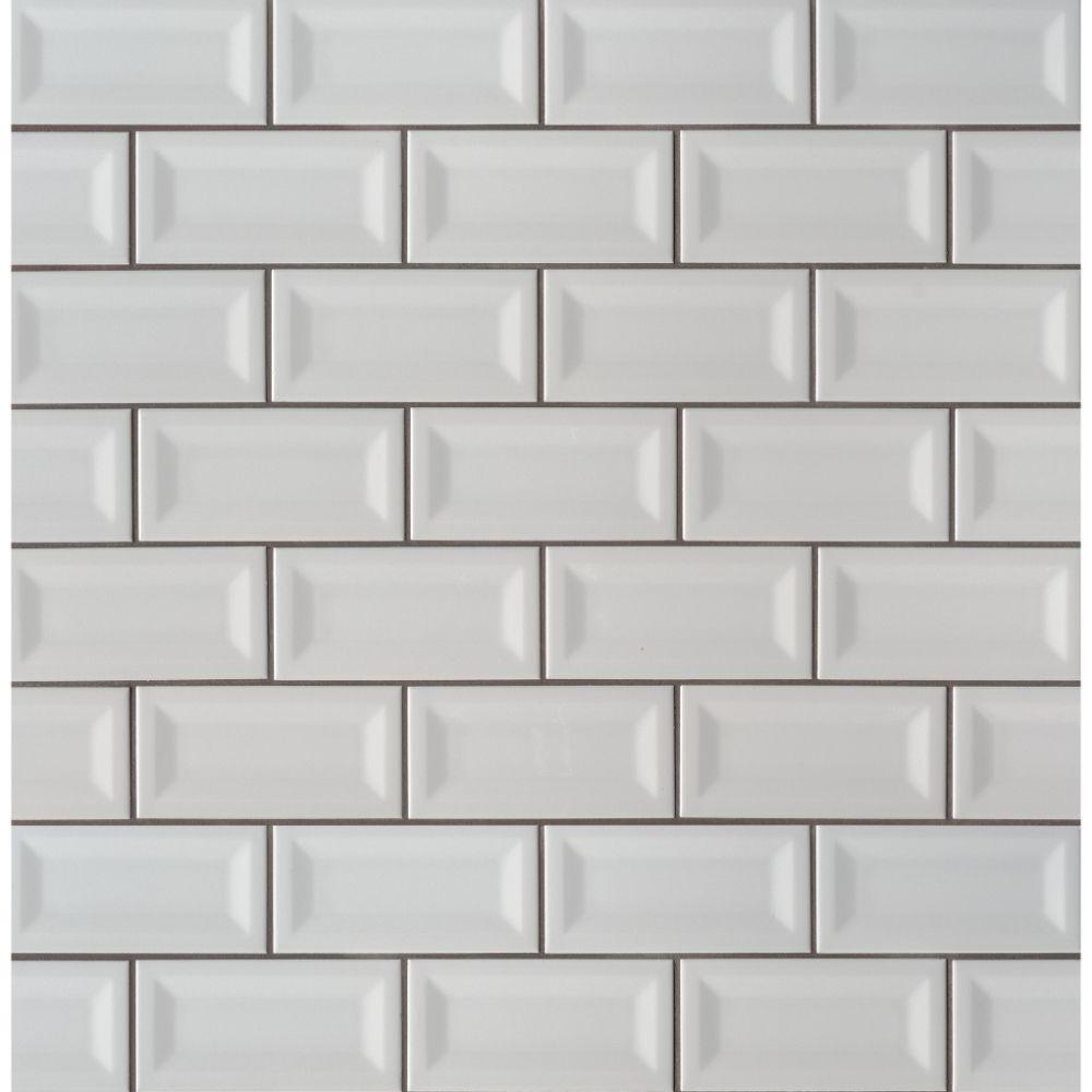 domino gray 3x6 inverted beveled glossy