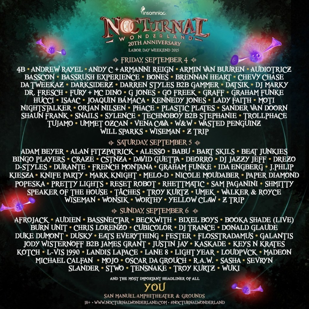 Insomniac Announces More Than 30 Additional Artists To 20th Anniversary Of Nocturnal Wonderland, September 4-6, 2015 (PRNewsFoto/Insomniac)