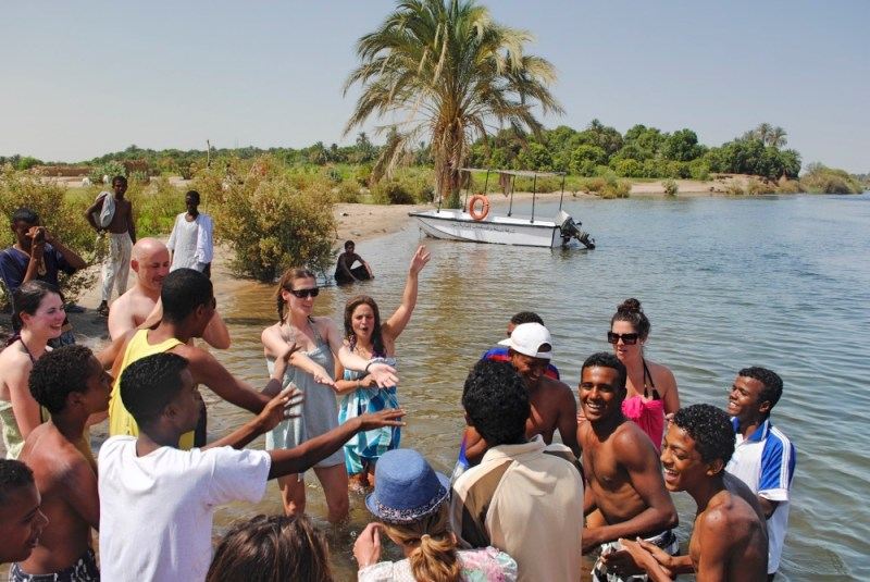 Dancing with the local Nubians during our felucca cruise on the nile