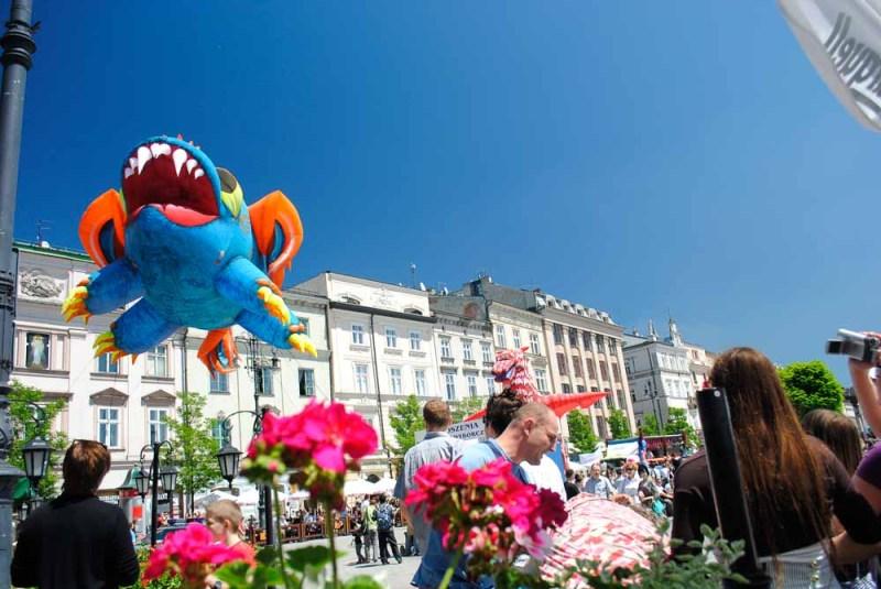 Dragon parade in Main Square Krakow Poland