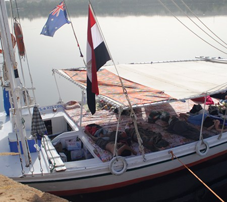 Our felucca in Egypt docked along the Nile