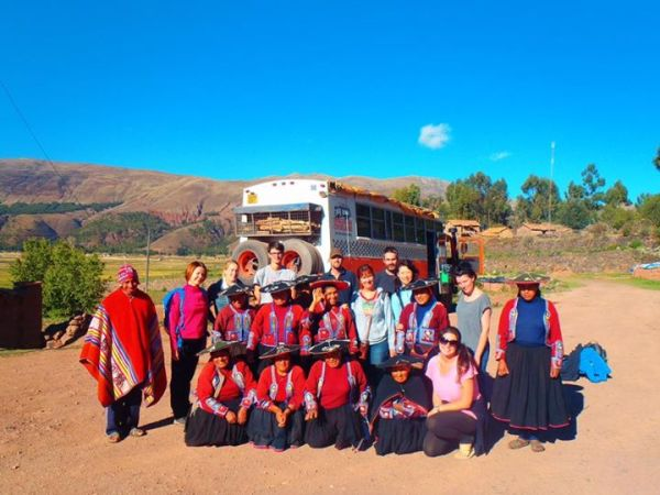 Group Photo with locals on Homestay in Peru