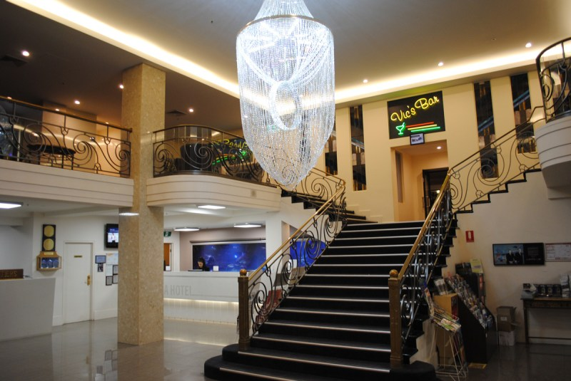 The beautiful foyer of the Ibis Styles Melbourne, the Victoria Hotel.